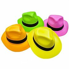 """24 Pack Neon Color Plastic Gangster Hats 22"""" Party Supplies Costumes Assorted"""