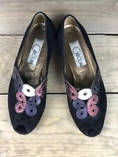 Vintage 80s Donna Carolina Pumps Multicolor Euro 39.5 US 8.5 Black Metallic