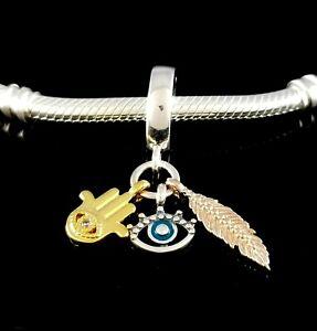 New Authentic Pandora Hamsa All Seeing Eye & Feather Spirituality Dangle Charm
