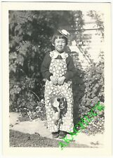 1930s 2 Photos HALLOWEEN JAPANESE TWINS with SCARY ANTHROPOMORPHIC PUMPKINS I