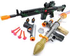 3x Toy Guns Toy Bazooka Friction M-16 Toy Rifle Grey 9MM Dart Pistol Set