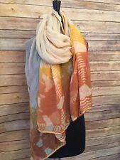 Vtg 100% Silk Shawl Sheer Scarf Bathing Suit Wrap Batik Ivory Gold Rust 80 X 40