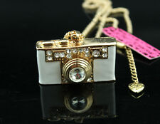 A158 Betsey Johnson Crystal White Camera Pendant Sweater chain Necklace