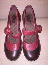 Indigo by Clarks Mary Jane Heels Brown Leather Red Trim Heels Shoes US Sz 6M