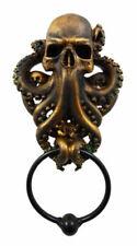 Bronze Finish Resin Octopus Kraken Warrior Door Knocker With Metal Ring Figurine