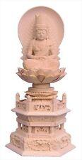 Japanese Buddha Statue Wood Carvings Dainichi Nyorai Hexagon Stand JAPAN F/S
