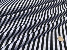 8mm Black & White Stripes Printed On 100% Cotton Sewing Craft Fabric Material