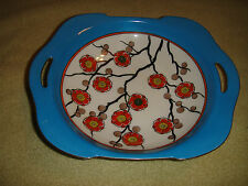 Lovely Noritake M Open Handle Serving Bowl-Lustre-Flowers On Branches-Blue