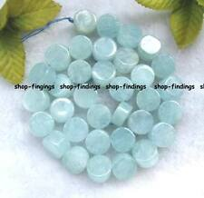 AA flat roundel 8mm blue natural aquamarine beads 15.5''