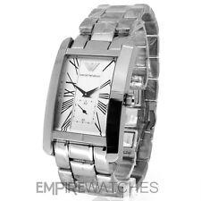 * NEU * Herren Emporio Armani Silber Klassisch Uhr-ar0145-RRP £ 195.00
