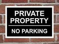 Private Property No Parking Aluminium Sign 200mm x 135mm. Black / White.