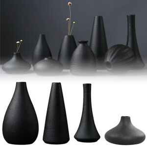Nordic Minimalist Ceramic Vase for Dried Flower Black Decorative Flower Vase