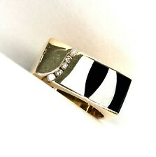 Gauthier Designer Onyx,Mother of Pearl, & Diamond 14k YG Men's Ring SZ 10.5