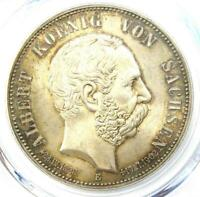 1902-E Germany Saxony Albert Death 5 Mark Coin (5Mk) - PCGS MS65 (Gem BU)