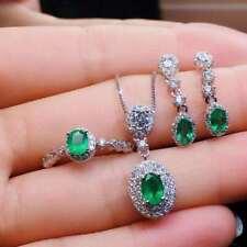 Natural Colombian Emerald Pendant Ring Earrings 925 Silver White Set  Women Gift
