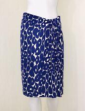 Etcetera Blue White Circle Print Side Pleat Pencil Knee Length Skirt Size 0 EUC
