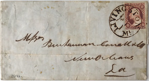 US#11 3c | 1852 USA COVER Block Browndirk Cancel | Livingston to New Orleans, La