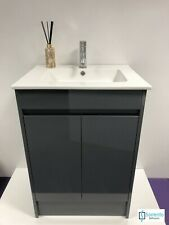 600mm Dark Grey Gloss Modern Bathroom Floor standing Basin Sink +Tap, Waste