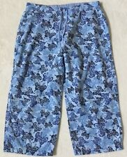 Womens Xhilaration Butterfly Drawstring Elastic Waist Capri Lounge Pants M