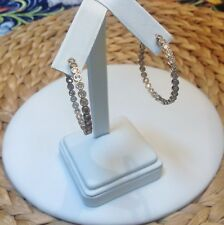 In and Out Hoop Earrings-Inside Outside-Bezel CZ-Gold Rhodium EP-Hinged-1.37""