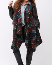 Lane Bryant beautiful Aztec inspired print coat with faux leather sleeves 14/16
