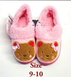 Wonder Nation Toddler Slippers Bear Closed Back Pink House Shoes Size 9-10