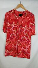 My Size 14 16 XS Top Red Gold Printed Gathered Neck Short Sleeves Blouse Casual