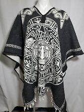 Artesanias Mickey Mayan Poncho Serape Black White Vintage Fringe Trim One Size