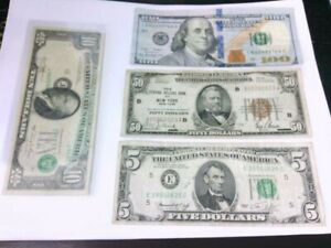 Lot of $5, $10, $50 FRN, & $100 Bills- Some w/ Errors (Misalignment, Etc.)