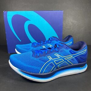 Asics Glideride Mens Running Shoes Trainers Active Blue Lime Zest UK 12 NEW