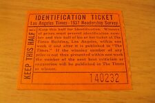 "VTG 1937 Readership Survey/Prize TICKET Stub~""LOS ANGELES TIMES""~California~"