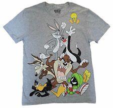 New Men's Looney Tunes Cast Characters Cartoon Gray Vintage Classic T-Shirt Tee
