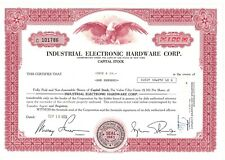 Stock Certificate of Industrial Electronic Hardware Corp.