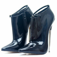 18cm Women High Heel Stiletto Pointed Toe Fetish Club Shoes Ankle Strap Pumps