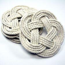 Navy Nautical Sailor Knot Turks Head Coasters Mystic Knotwork Set of 4