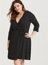 TORRID Women's Black/White Polka Dot Jersey Knit Faux Wrap Dress Sz 1 (1X 14/16)