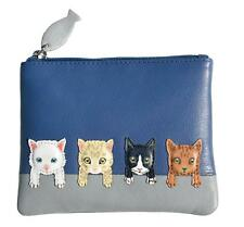 MALA Leather Cat Purse Blue Cats On Wall Small Coin Card Holder Ladies Purses