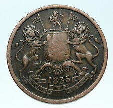 1835 BRITISH INDIA UK COLONY East India Co. Antique Genuine 1/2 Anna Coin i83622