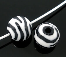 50 Zebra Striped Acrylic Spacer Round Beads Jewelry Making 12mm