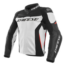GIACCA DAINESE RACING 3  FORATA PELLE  WHITE BLACK  RED TG.46