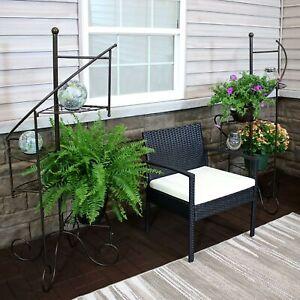 """Sunnydaze 4-Tier Flower Plant Stand Metal Spiral Staircase Design - 2 PK - 56"""""""