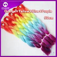"24"" Rainbow Ombre Silk Jumbo Braiding Synthetic Hair Extension Twist Braids"