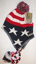 USA American Flag Dakota Dan Patriot Chullo Cap Beanie Knit Winter Stocking Hat