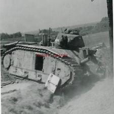 PHOTO WW2 1940 PANZER TANK CHAR B1 BIS RENAULT INDOCHINE BLINDÉ LE CATEAU BAZUEL