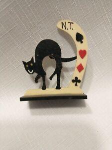 Vintage celluloid bridge  trump marker Halloween cat  swinging tail suits