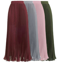 KK Ladies Summer Pleated Double Layer Skirt Retro Long Maxi Elastic Waist Skirt