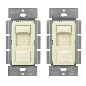 Slide Dimmer 3 Way Switch Incandescent 600W W/ On Off Button Light Almond 2 Pack