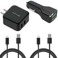 4-IN-1 ADAPTIVE FAST HOME CAR CHARGER 6FT LONG (TWO) USB for SMARTPHONE & TABLET