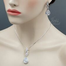 White Gold Plated Zirconia CZ Necklace Earrings Bridal Wedding Jewelry Set 01213