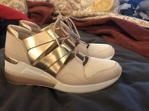 michael kors beckett Leather wedge sneakers trainers cutout pink gold 10 WOW!!